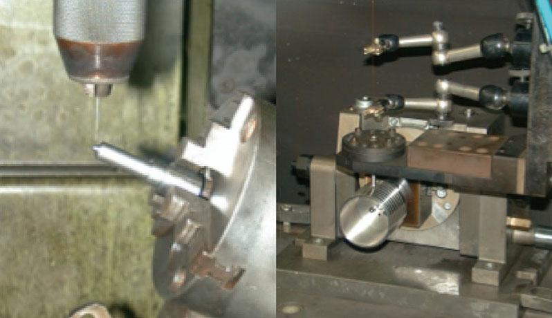 傾斜・割出冶具による微細深穴の加工例